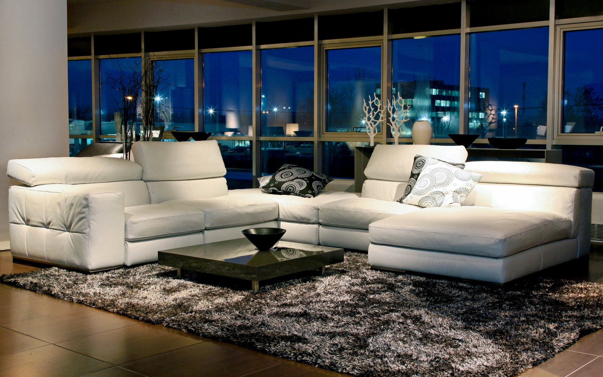 interior-design-style-room-furniture-white-couch-pillow-carpet-window-night